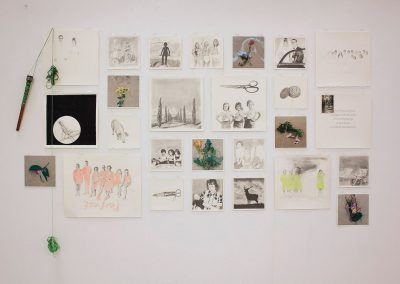 Debbie Hill - Amor Fati - Installation Graphite, Ink, Watercolour,Digital prints, Collage, Vintage photographs on Arches
