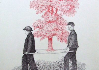 Debbie Hill - The Burden - Pigment Ink marker on Arches SOLD