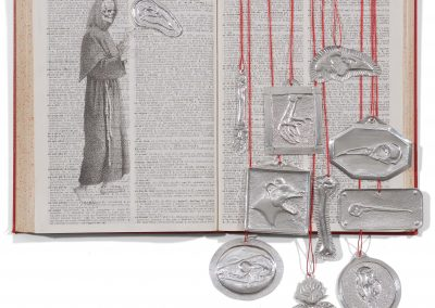 Debbie Hill - executer 490 - Pigment Ink marker, hand made Aluminium votives, Cotton on vintage dictionary