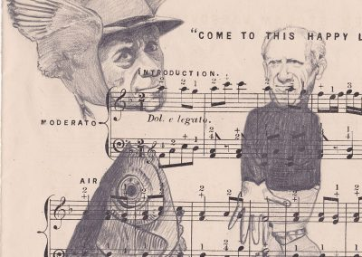 Debbie Hill - Collage - Graphite on Vintage sheet music