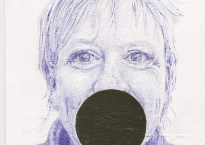 Debbie Hill - Reflections - Biro and Foil on Arches