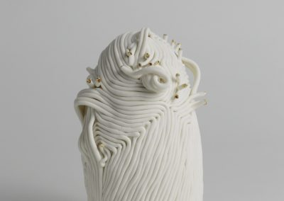 The Moirai #1 (front view)- Hand built Porcelain, Gold Lustre