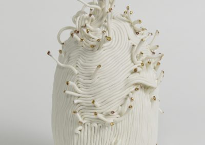 Abyss (side) - Hand built Porcelain, Gold Lustre