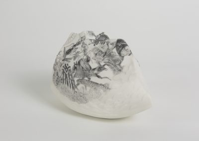 Who Mourns - Ark Series (left view) - Hand built and etched Porcelain, drawing