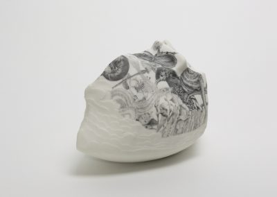 Who Mourns - Ark Series (right view) - Hand built and etched Porcelain, drawing
